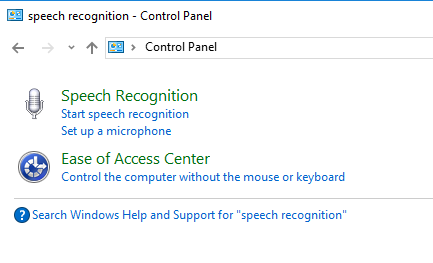 speech recognition control panel