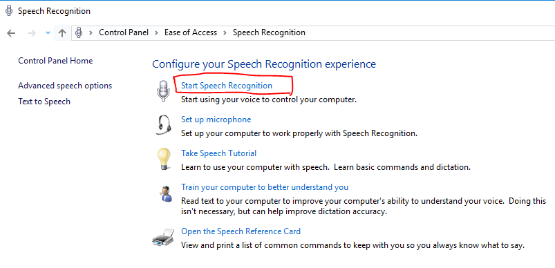 start speech recognition