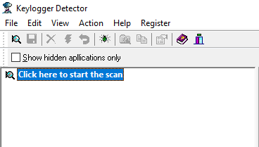 click to start scan keylogger