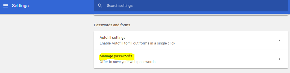 manage password advance setting chrome