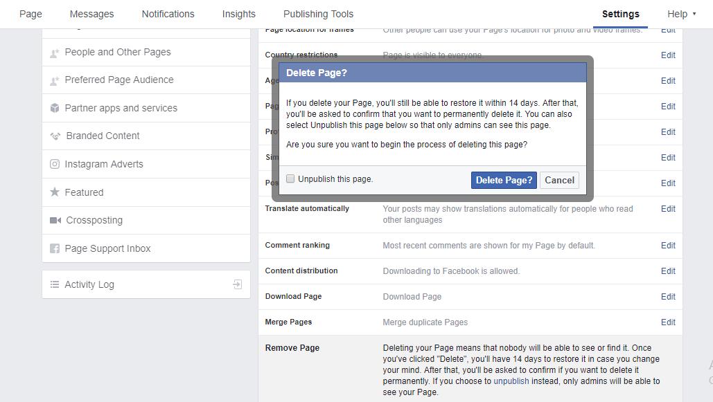 Delete fFacebook Page