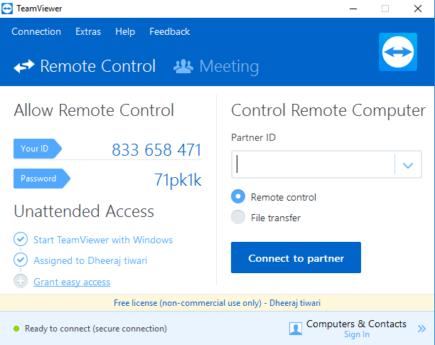 Teamviewer account panel