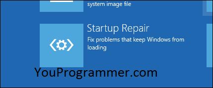 startup repair option windows 10