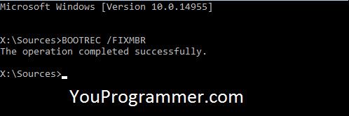 BOOTREC /FIXMBR command prompt