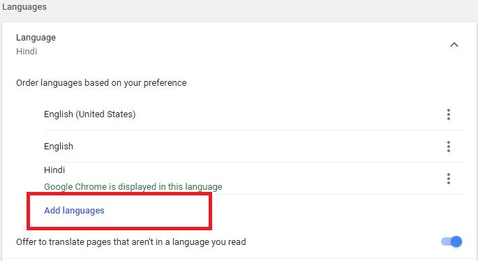 add language to chrome