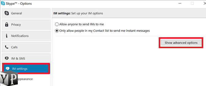advanced options skype chat
