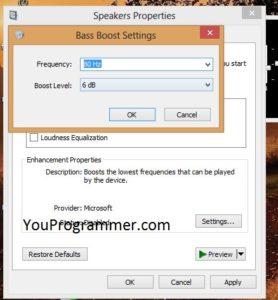 increase bass sound windows