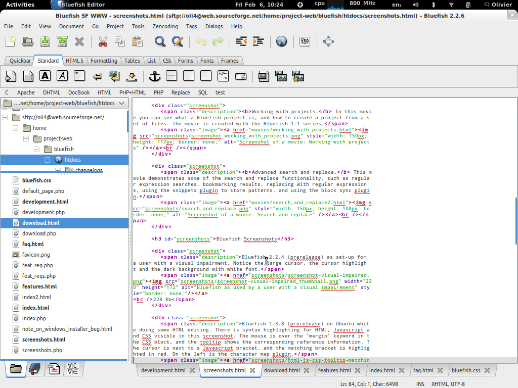 Bluefish text editor