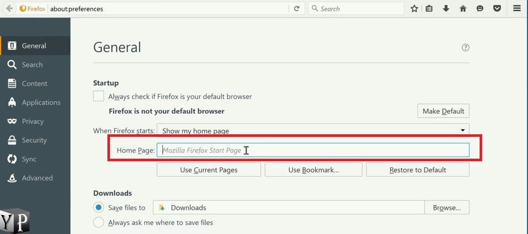 change default homepage in firefox