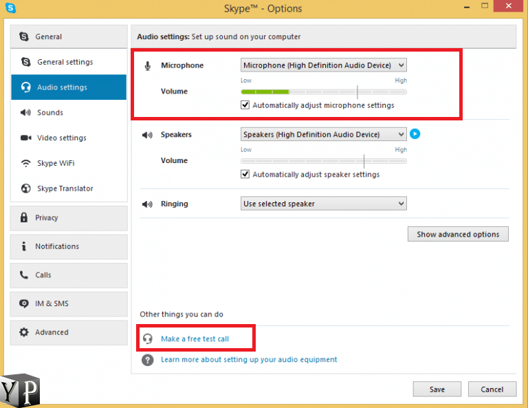 change skype audio settings