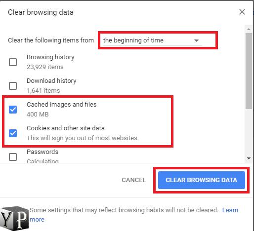 chrome cached data and cookies clear