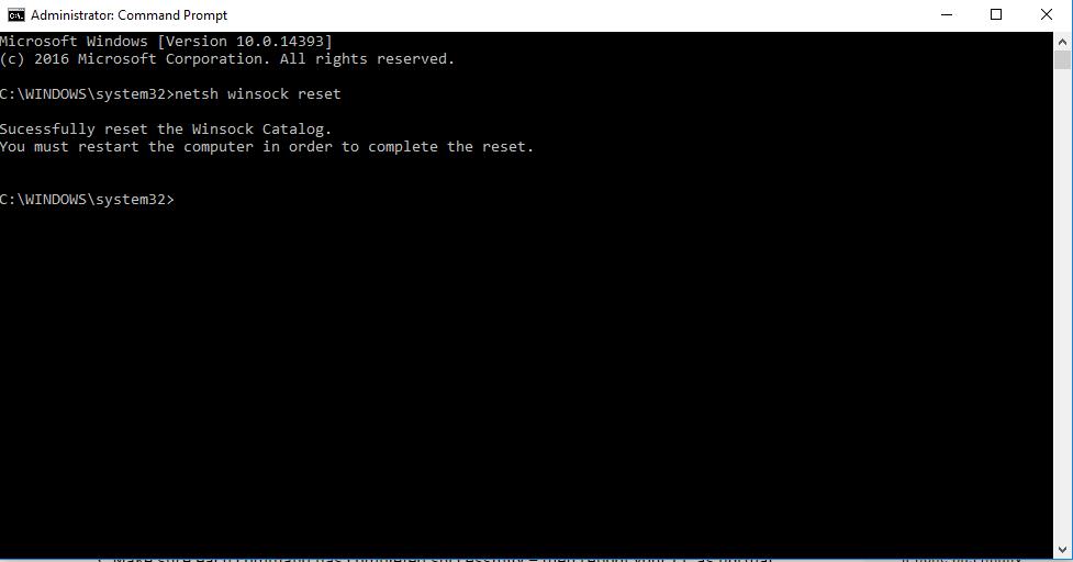 Type netsh winsock reset