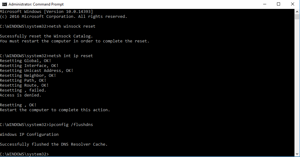 Type ipconfig /flushdns