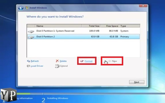 create new partition to install windows 7