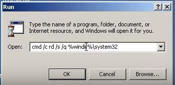 delete system 32 windows xp