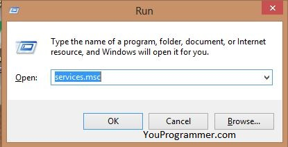 services.msc on run box windows