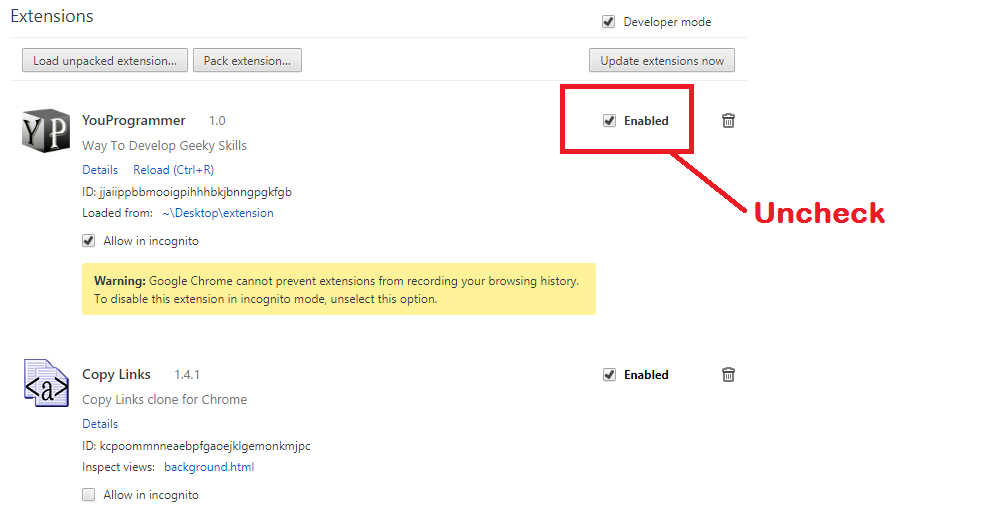 disable extensions chrome