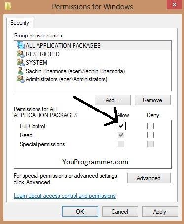 permissions on windows box