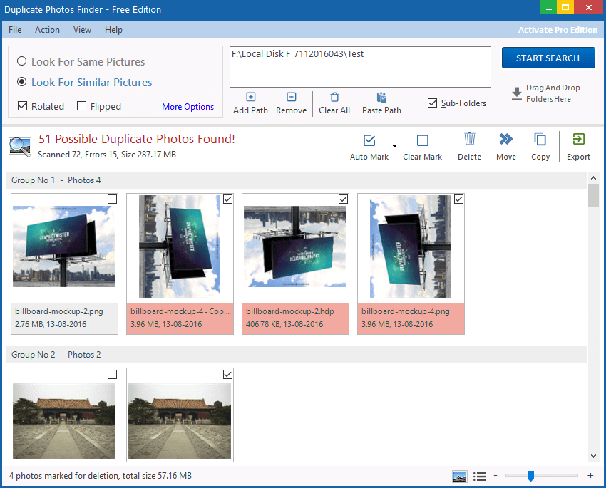 Dupliacate photos finder to find Duplicate images