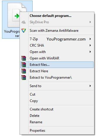 extract rar files on windows