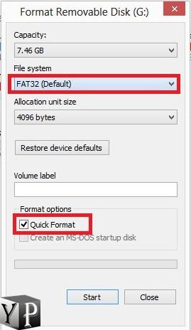 fat32 format usb