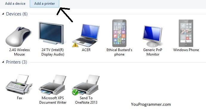 add a device/ add a printer