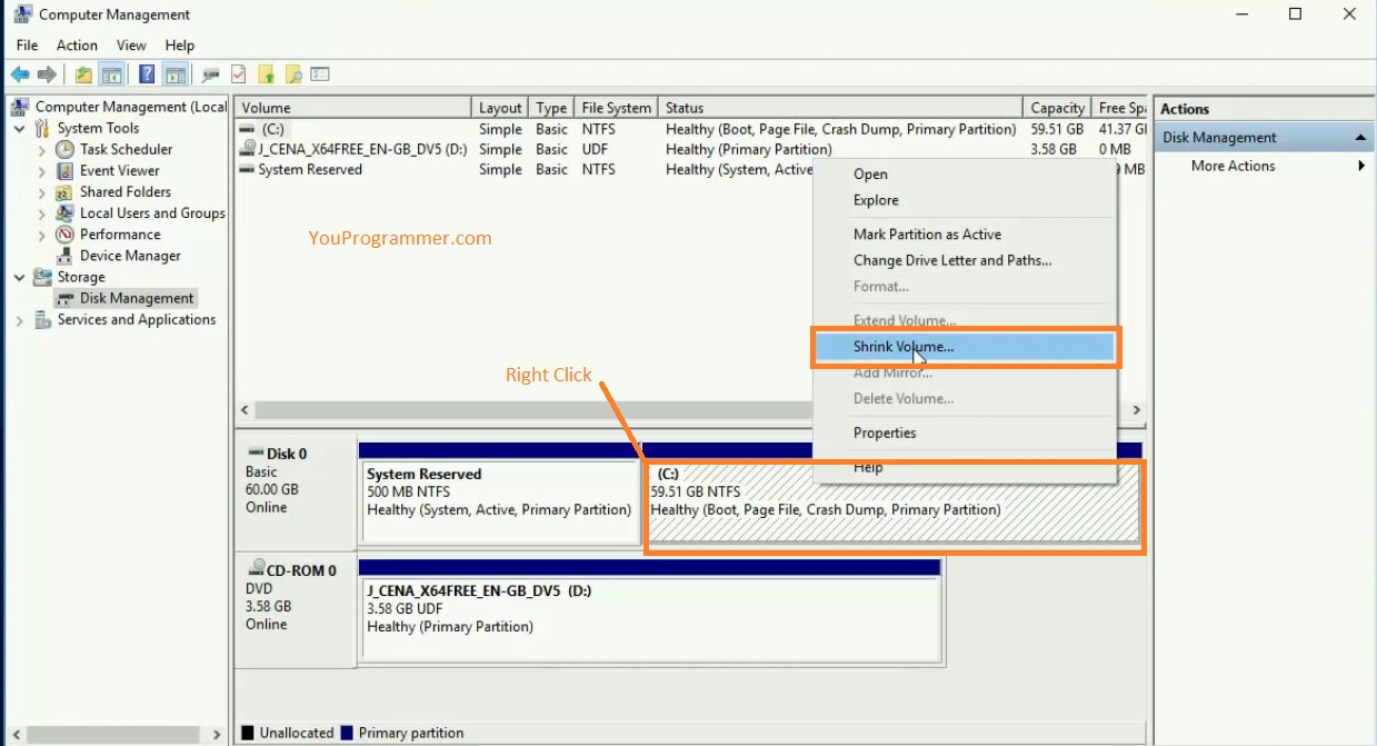 how to create new partition windows 10