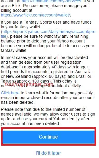 how to delete yahoo account