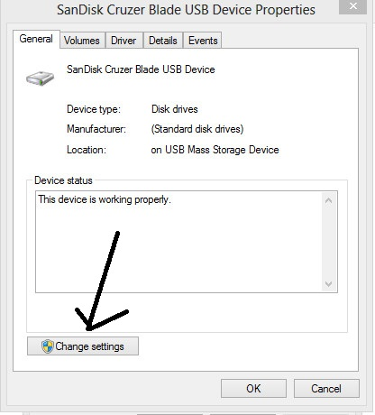 change settings usb