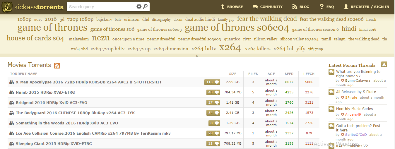 KickassTorrents best ebook torrent website