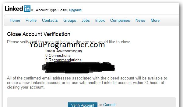 close account verification linkedin