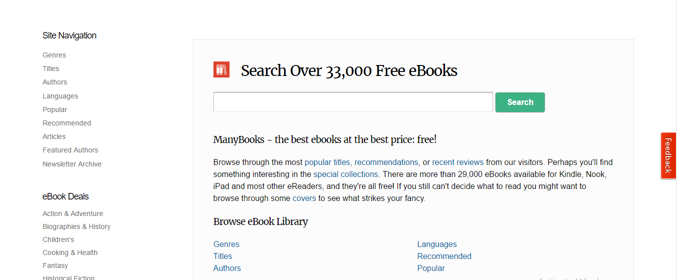 ManyBook ebook torrent website