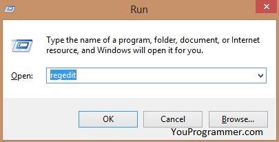 regedit on windows run box