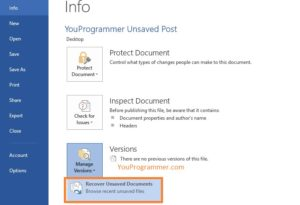 recover unsaved word documents 2016