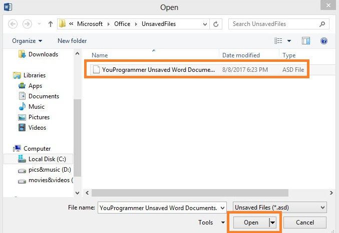 recover unsaved word document 2010