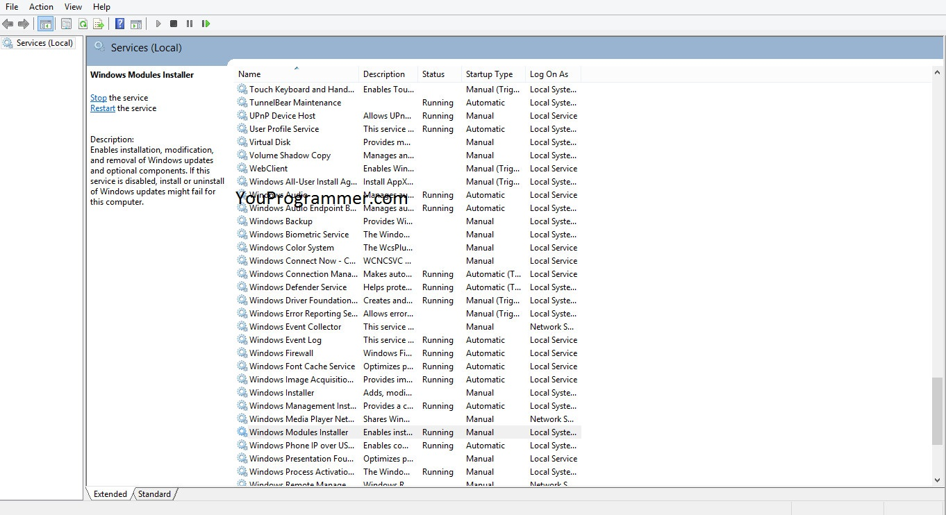 windows resource protection not running