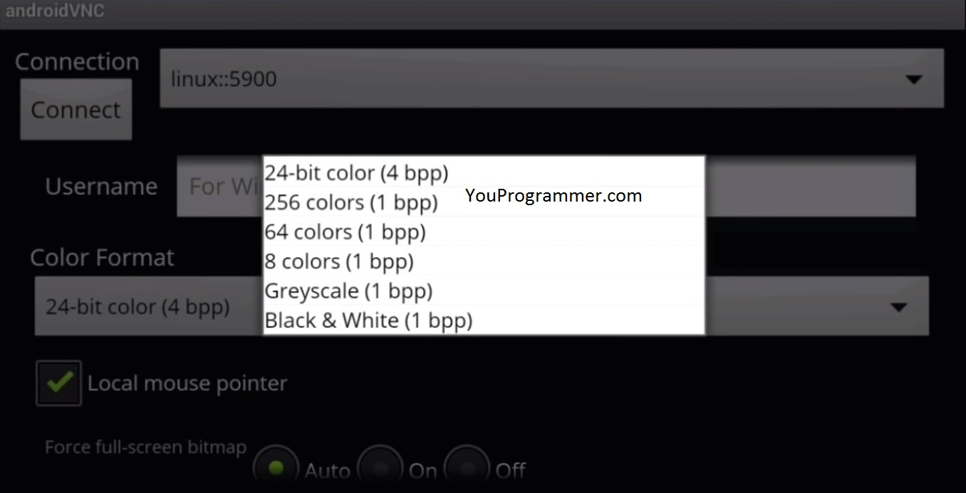set screen color format Linux mobile