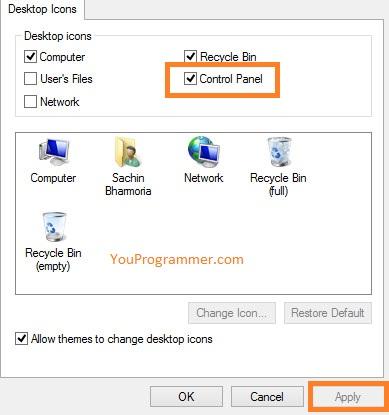 show control panel icon on desktop