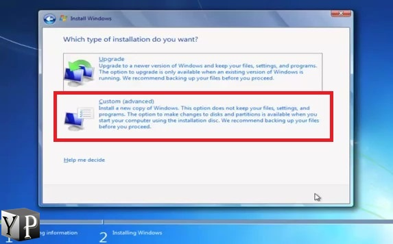 step by step process to install windows 7