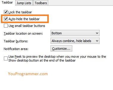 taskbar won't hide