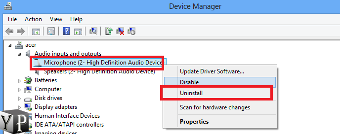 uninstall audio recording driver