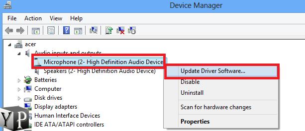 update microphone driver
