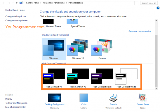 use high contrast themes in windows 10