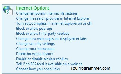 internet options windows