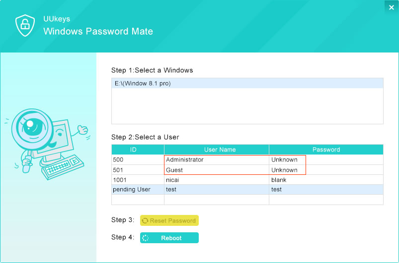 Windows 7 password recovering using UUkeys