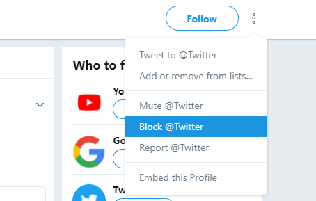 Block twitter account from profile page