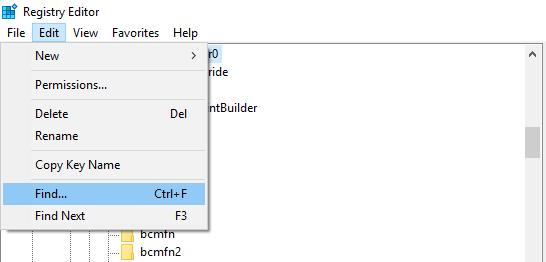 Registory Editor Edit Find