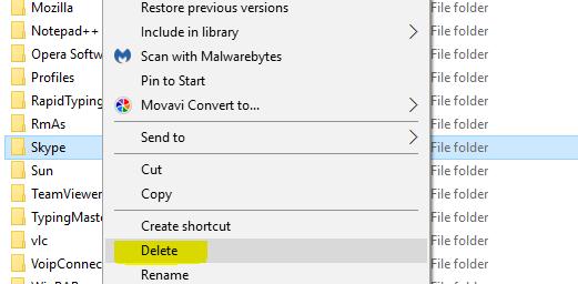 Deleting Skype Folder