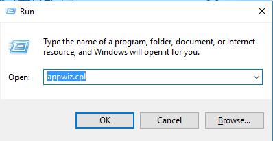 run windows appwiz.cpl