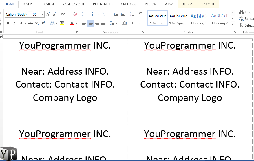 make business cards in word